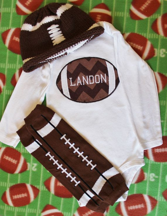 Baby Boy Complete Football Outfit by TwoLittlesBoutique on Etsy, $40.00 ( If Im having a Karson.) : )