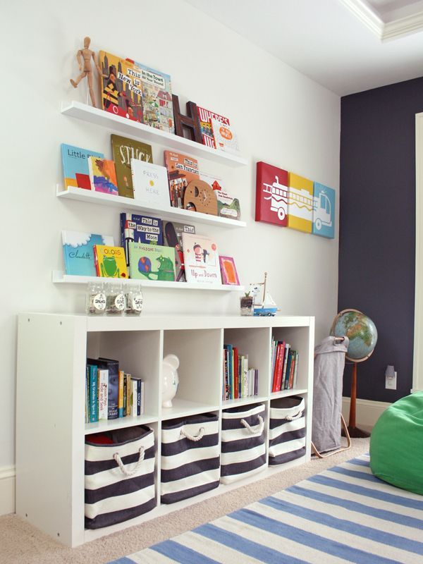 Great storage ideas for a kids room - the /IKEAUSA/ Expedit Bookcase + @LandofNod striped bins are a match made in heaven!