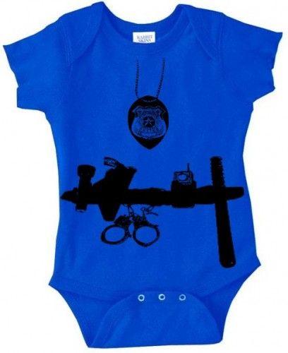 Baby Police Officer cop man 6m creeper royal blue   Royalkane - Clothing on ArtFire