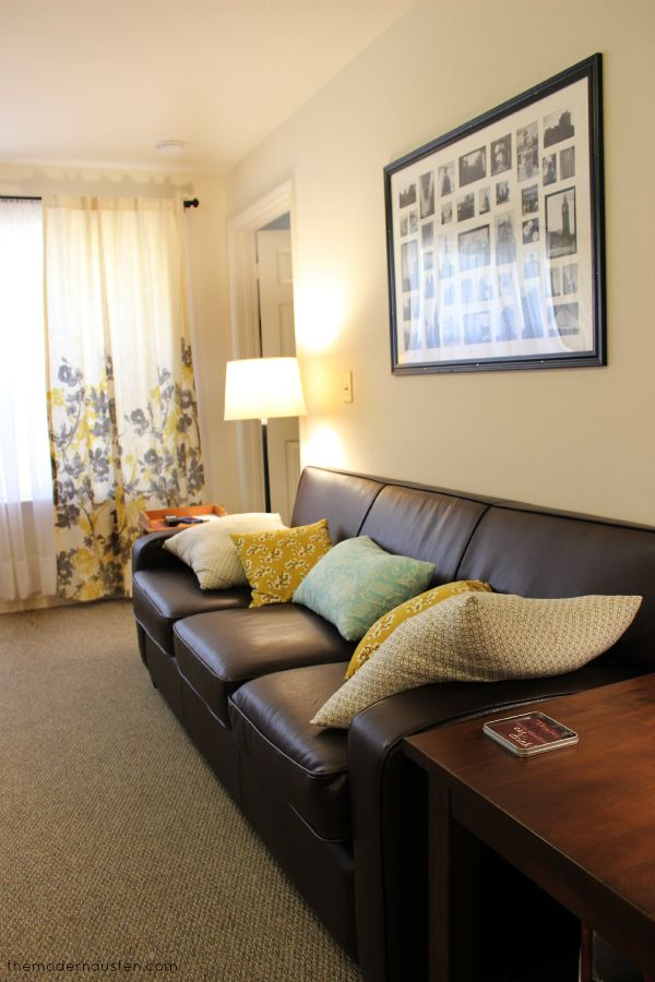 Living Room Color Combination: Gray, Yellow, And Teal With Brown Furniture  For Apartment
