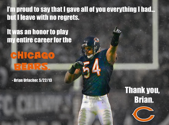 #BrianUrlacher retires as a Bear after 13 wonderful seasons... Thank you for making us #BelieveInMonsters again, Brian!!! #BEARS4LIFE