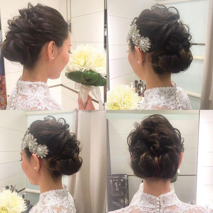 お式はかつらに角かくし姿だった花嫁さま 披露宴入場ではWDにチェンジ 下めにまとめたざっくりロールヘア どちらもとても素敵でした(*^_^*) #hair #hairdo #hairstyle  #bride  #wedding  #ヘアセット #ヘアスタイル #ヘアアレンジ  #ブライダル #ブライダルヘア #結婚式 #前撮り #アップスタイル  #プレ花嫁 #ベール #花嫁ヘア #白無垢ヘア  #白無垢  #日本 #japan #日本の結婚式 #ドレス  #クラシカル #ボンネ #ティアラ #東京 #tokyo #beauty #ワンロール