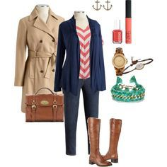 Summer for the Winter - Plus Size - Chevron stripes, wide calf boots, trench