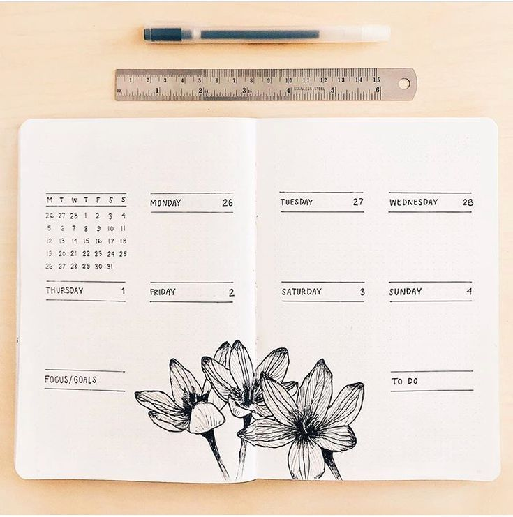 Wöchentliches Layout des Minimalist Bullet Journal für beschäftigte Menschen