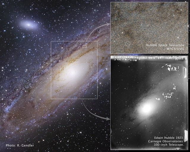 Views of a famous pulsating star,  the Cepheid variable V1 in M31, taken nearly 90 years apart, along with a portrait of its galactic home are shown in this image collection. The tiny white box just above center outlines the Hubble Space Telescope view. An arrow points to the Hubble image, taken by the Wide Field Camera 3. The snapshot is blanketed with stars, which look like grains of sand.