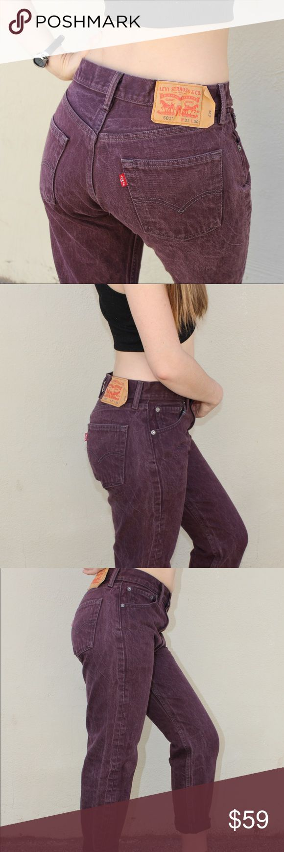 """Vintage Dark Purple Levi Jeans 501 W33xL30 👖💜 (4 Button up)  Your favorite 501. Fit! Gettem before they're gone ! Measurements : Inseam : 27"""" ( not rolled up ) Rise : 11 Waist : 30"""" I would say a size 8 maybe a 10 FREE SHIPPING ON MY DEPOP @leamyesha Levi's Jeans Straight Leg"""
