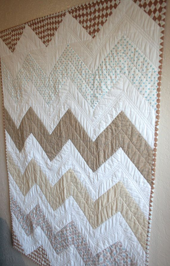 Chevron Baby Boy Quilt In Light Blue And Neutrals With Argyle Binding. $79.99, via Etsy.