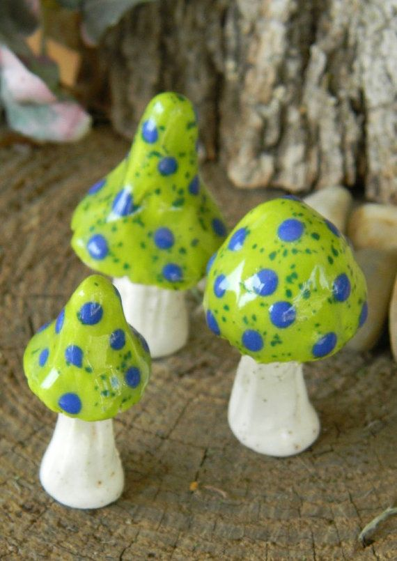 Hey, I found this really awesome Etsy listing at http://www.etsy.com/listing/159722702/3-ceramic-mushroom-miniatures-3-apple