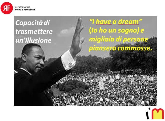 """Ritorniamo alle caratteristiche del buon #leader. Tra queste, c'è la capacità di trasmettere un'#illusione, ma non nel senso negativo. Ricordate la famosa frase del politico e attivista Martin Luther King? """"I HAVE A #DREAM''. La frase completa diceva così: « Ho un #sogno: che un giorno questa nazione si sollevi e viva appieno il vero significato del suo credo: """"Riteniamo queste verità di per sé evidenti: che tutti gli uomini sono stati creati uguali ». In quel momento stava trasmettendo a…"""