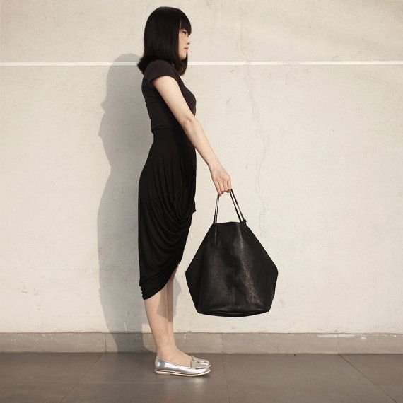 Leather Tote Genuine Leather Purse Shopping Bag by MillionKnit, $129.00