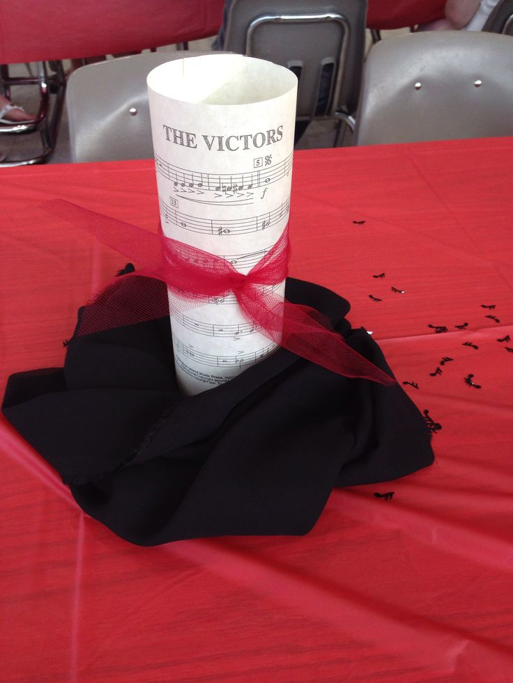 Band banquet centerpiece school fight song wrapped around