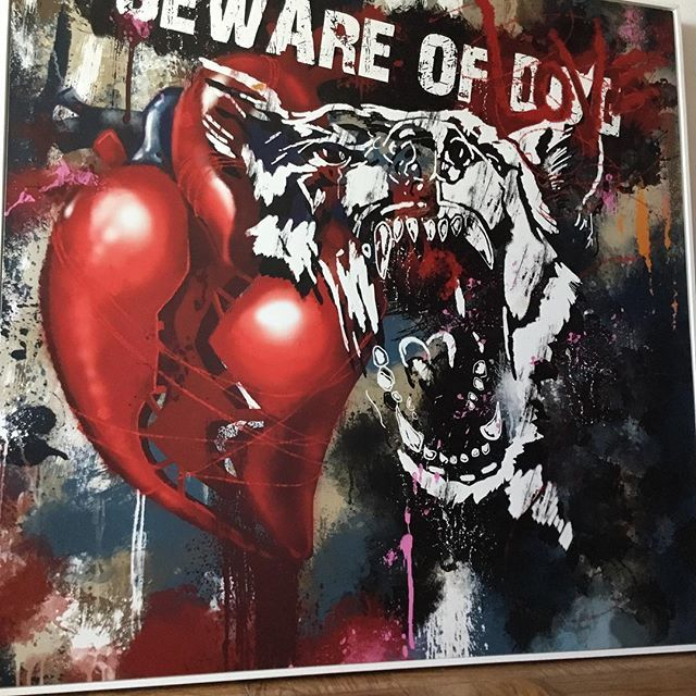 #love #art #artist #dog #warning #danger #bewareofdog #painting #streetart #contemporaryart #digitalart #heart #graffiti #spraypaint