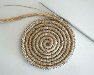 Tapete circular mecate tejido con hilo