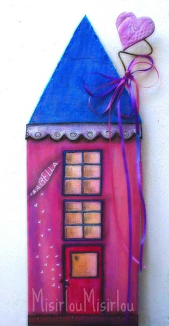 Pink house-mixed media