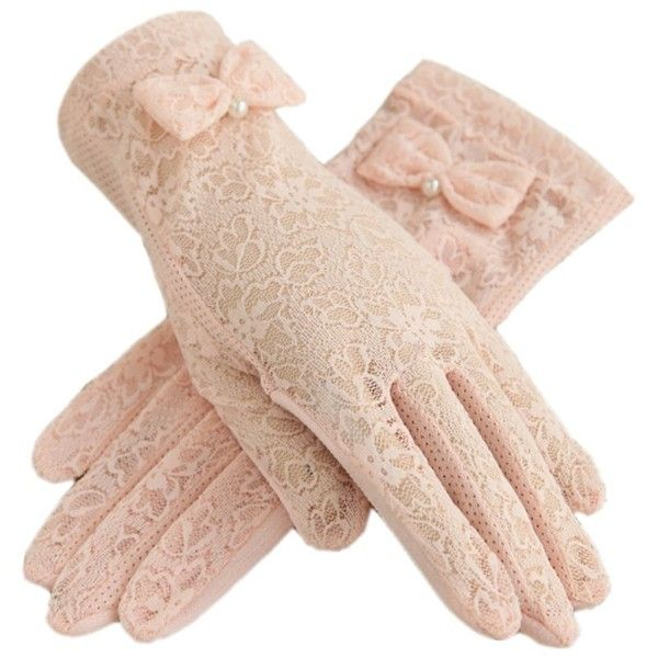 Urban CoCo Vintage Summer Lace Bowknot Short Dress Gloves Wedding... ($8.89) ❤ liked on Polyvore featuring accessories, gloves, vintage gloves, beige gloves, mitten gloves, summer gloves and vintage mittens