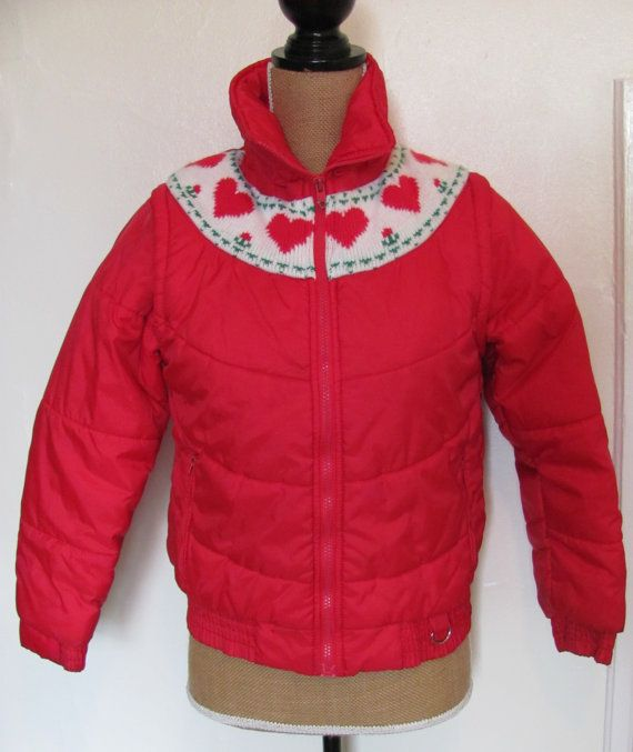 Vintage Puffy Coat  Circa 70s  Girls Red Jacket with Hearts, Converts from Coat to Ski Vest!  by ChickRobotsHouse on Etsy, $28.00