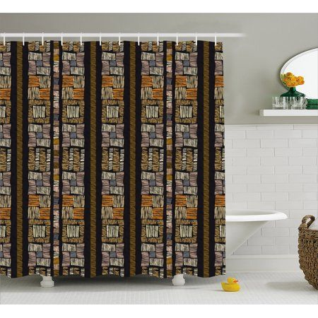 Zambia Shower Curtain Authentic Bohemian African Primitive Striped Grunge Fashion Culture Artsy Pattern Fabric Bathroom Set With Hooks 69W X 84L Inches