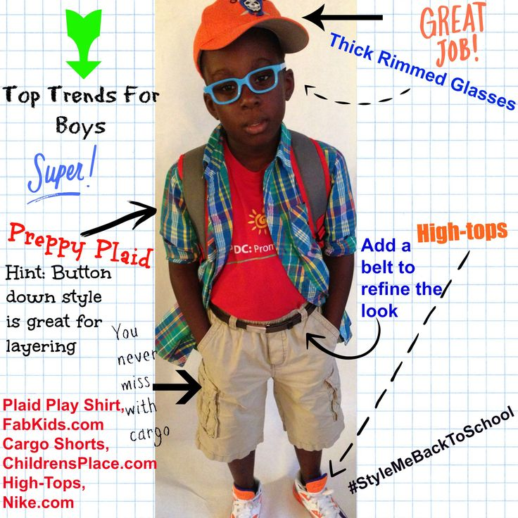Accessories are the best way for your child to flex his/her creative muscle when required to wear a uniform. Top trends for boys: Thick Rimmed Glasses, High-Tops, Plaid. This look features @FabKids Plaid Play Shirt on trend and great for added pop(s) of color. #School #Kids #KidsFashion #Boys #BoysFashion #Style #KidsSwag #BackToSchool #StyleMeBackToSchool