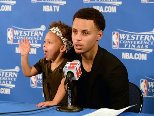Why is there an issue with kids at postgame press conferences? steph and riley curry