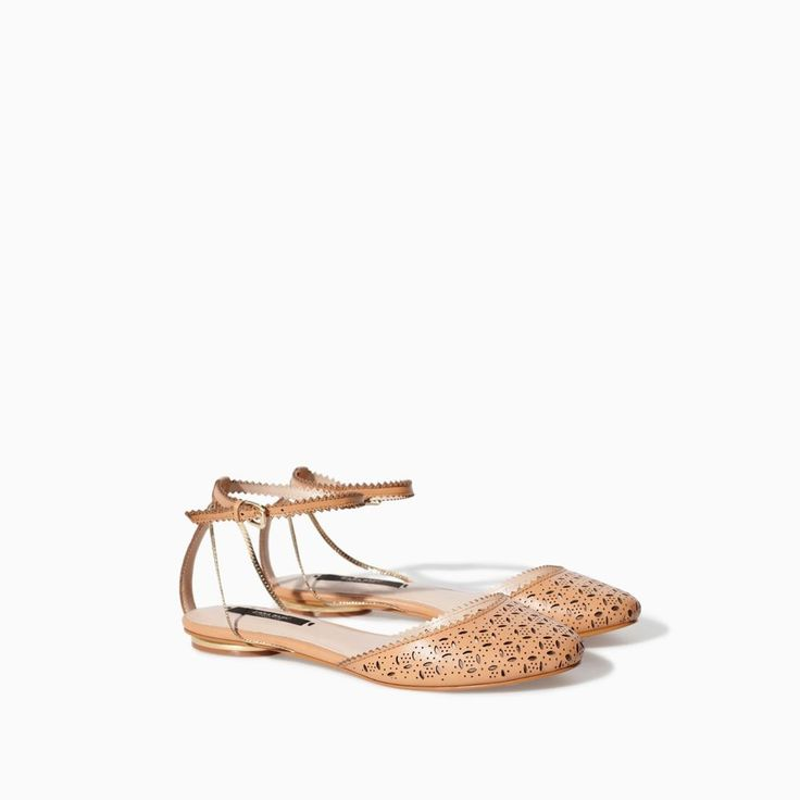 NWT ZARA FLAT SANDALS WITH OPEN-WORK LEATHER 100% COW LEATHER Leathe Color US 6 #ZARA #FLATSANDALS