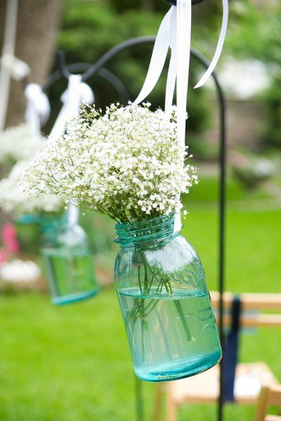 Aisle ideas, my colors: Blue Mason Jars, White Flower, Wedding Aisle, Wedding Ideas, Baby Breath, Aisle Markers, Wedding Flower, Stained Glass, Yellow Flower