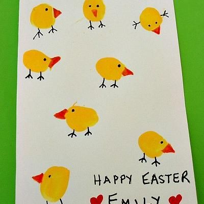 Thumbprint Easter Chick Card {Easy Craft}