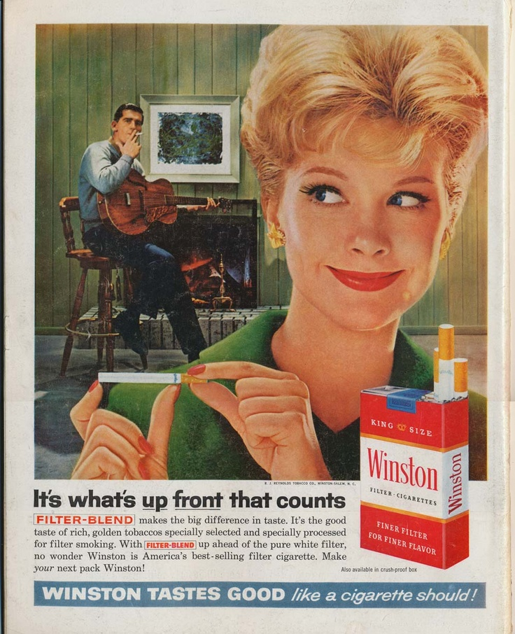 "Vintage Ad....""It's what up front that counts."" Watch out, she's measuring your, um, cigarette.: Sublimina Noticed, Cigarette Adverti, Cigarette Ads, Life Magazines, Funny Vintage, Behind Adverti, Vintage Ads, Holy Smoke, Vintage Cigarette"