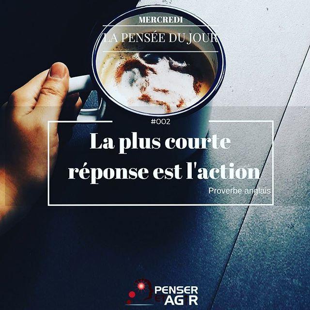 Passez à l'action aujourd'hui pour réaliser vos rêves : http://www.penser-et-agir.fr/pinterest/ 📚Mercredi - La pensée du jour - ➡️ La plus courte réponse est l'action ! (Proverbe anglais) ➡️ Ne restez pas passif, prenez votre vie en main, AGISSEZ ! ➡️Penser-et-Agir.fr  #penseretagir #penseepositive #mathieuvenisse #developpementpersonnel #inspiration #citation #quote #action #cafe #coffee #life #lifestyle