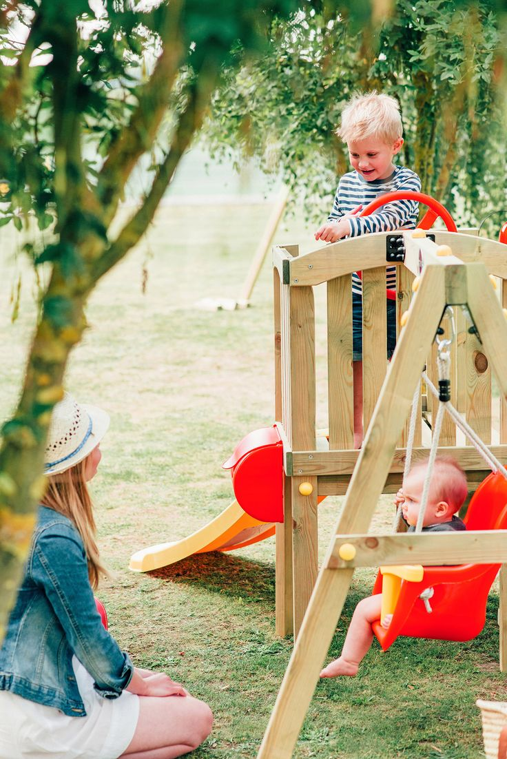 PLUM TODDLER TOWER  For pioneering pre-schoolers, The Plum® Toddlers Tower is the perfect introduction to outdoor fun and adventure.   The wooden tower is specifically designed for little explorers to climb, swing, slide and hide, with lots of hand grips and gentle steps to help along the way.   For little siblings, the baby swing has a high back, seat belt and super-soft feel ropes.  Suitable for ages 12 months+.