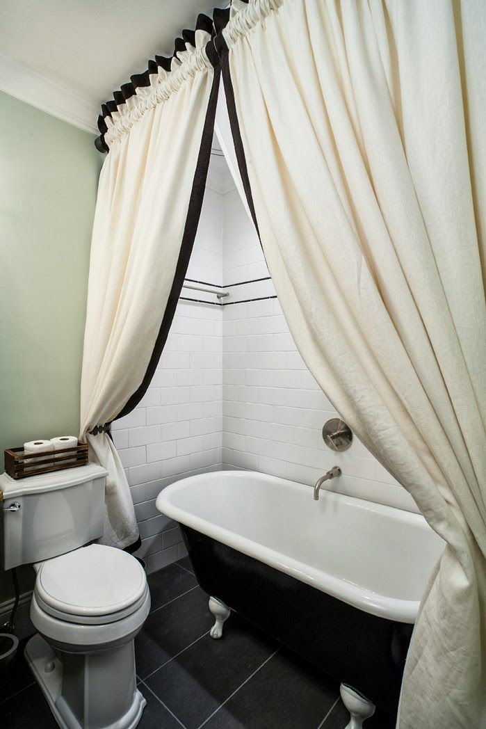 extra long clawfoot tub. Old Extra Long Shower Curtains and Traditional Bathrooms Design  Sleek Dark Floor Tile White Curtain Black Bathtub Cool Stainless Steel Fauc 8 best Clawfoot Tub Rehab images on Pinterest Bathroom ideas