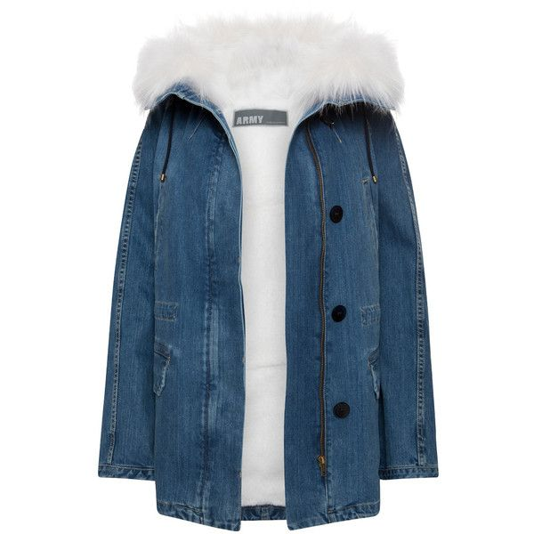Denim Parka Coat with Fur Hood Paulie ❤ liked on Polyvore featuring outerwear, coats, vintage parka, fur hood parka, parka coat, denim parka and blue parka