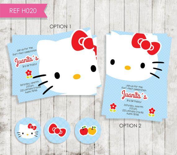 Hello Kitty Birthday Invitation (invitation Hello Kitty red) FREE Tags
