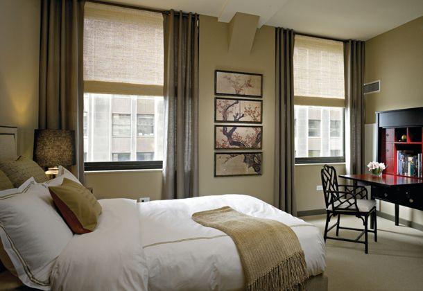 Khaki green bedroom with white bedding benjamin moore for Khaki green walls