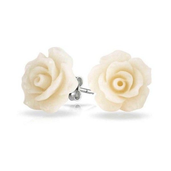Bling Jewelry 925 Sterling Silver White Resin Flower Rose Stud... ($14) ❤ liked on Polyvore featuring jewelry, earrings, white, stud earring set, post earrings, flower stud earrings, sterling silver earrings and rose flower earrings