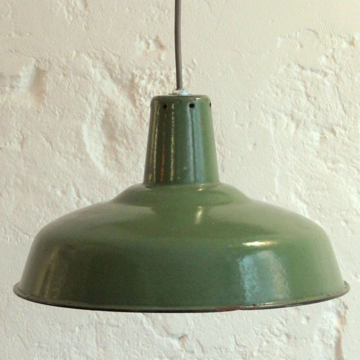 Ancienne Lampe Suspension Industrielle Gamelle D 39 Atelier En T Le Maill E Verte Http Www