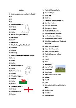 British Culture Quiz, esl, activities, quiz, Britain, UK, game