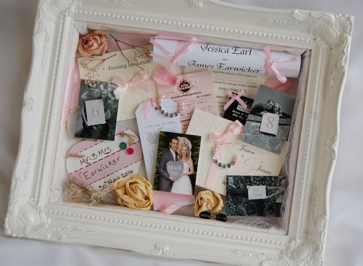 beautiful wedding memory frame shadow box in an ornate swept frame i created for a bride