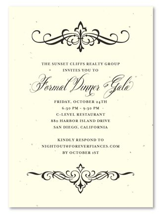 Holiday Party Invitations ~ Elegant Scrolls by Green Business Print