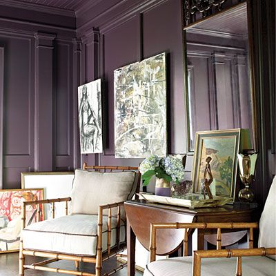 gorgeous purple: Dining Rooms, Wall Colors, Expressions Plum, Plum Wall, Guest Bedrooms, Bamboo Chairs, Bedrooms Colors, Plum Paintings, Accent Wall