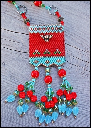 """Bee Happy"" beaded medicine bag"