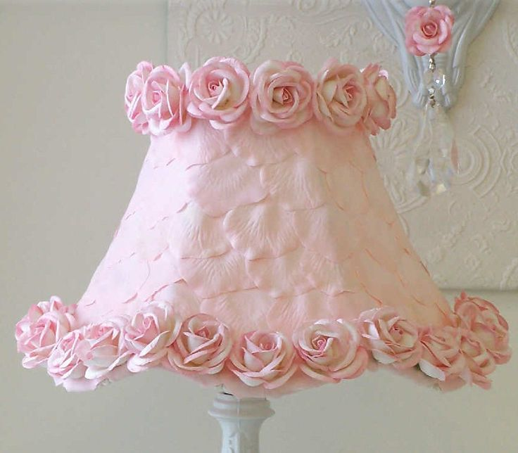 Vintage Lamp with Rose Petals. Easy to DIY too