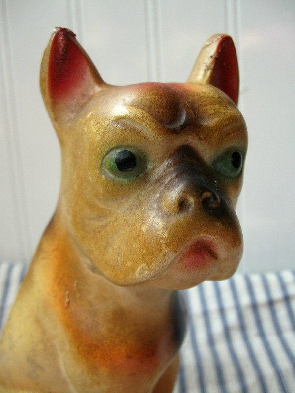 Vintage Chalk dog Carnival prize Boston Terrier