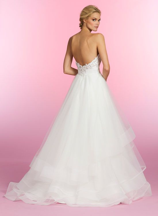 Ivory hand cut faux leather ball bridal gown, sculpted bodice with scalloped eyelet sweetheart neckline, tiered tulle skirt with horsehair trim. Dolly, Style HP6509 by JLM Couture, Inc.
