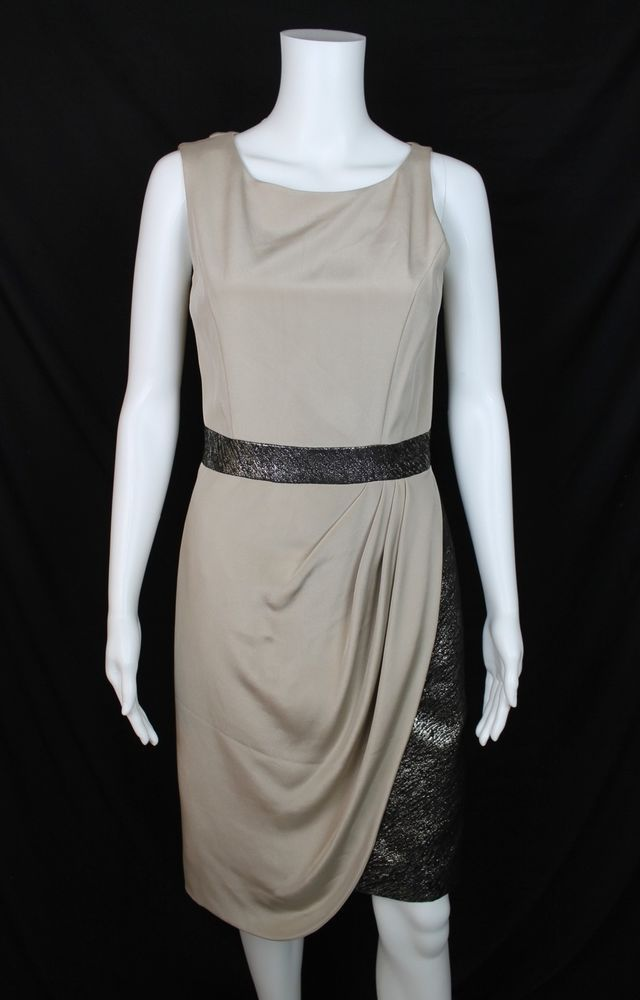 fc13edba21b730 Christian Siriano Beige Silk   Metallic Black Sleeveless Drape Dress Size 4  NWT  ChristianSiriano  SheathDress  PartyCocktail