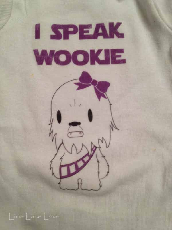 """Baby girl Star Wars Onesies with """"I speak Wookie"""" Chewbacca, Daddy's Little Princess Leia, and The Force Is Strong With This One--DIY Heat Transfer @ limelanelove.com"""
