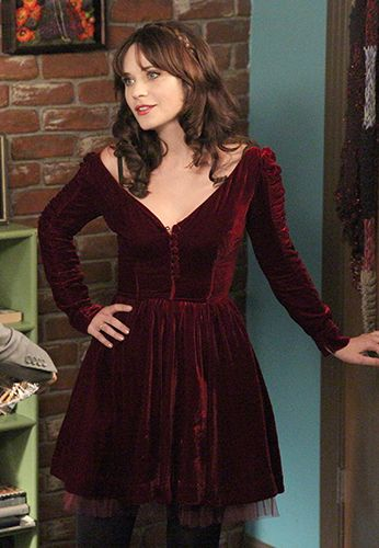 Zooey Deschanel's Burgundy velvet dress for Thanksgiving on New Girl.  Outfit Details: http://wwzdw.com/z/4727/ #WWZDW