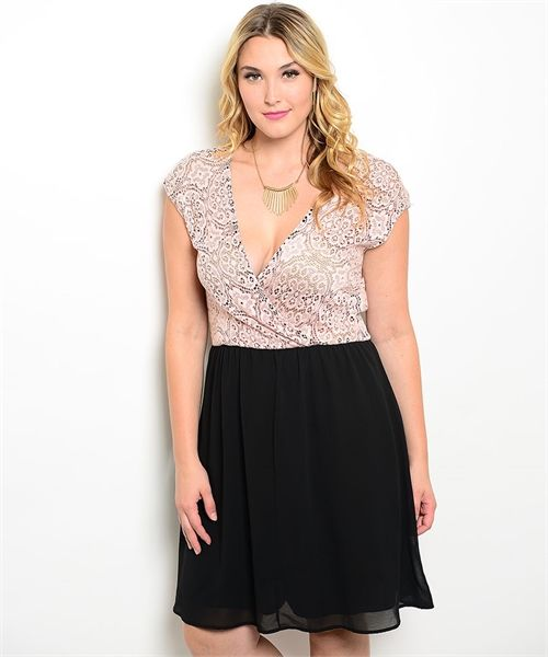 Dusty Pink Surplice Women's Plus Size Boutique Dress with Black Skirt | Cali Boutique | FREE shipping to the U.S.