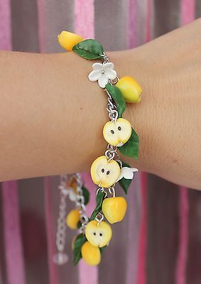 Jewelry Bracelet /Yellow Apples / Handmade /Christmas gift / Polymer clay