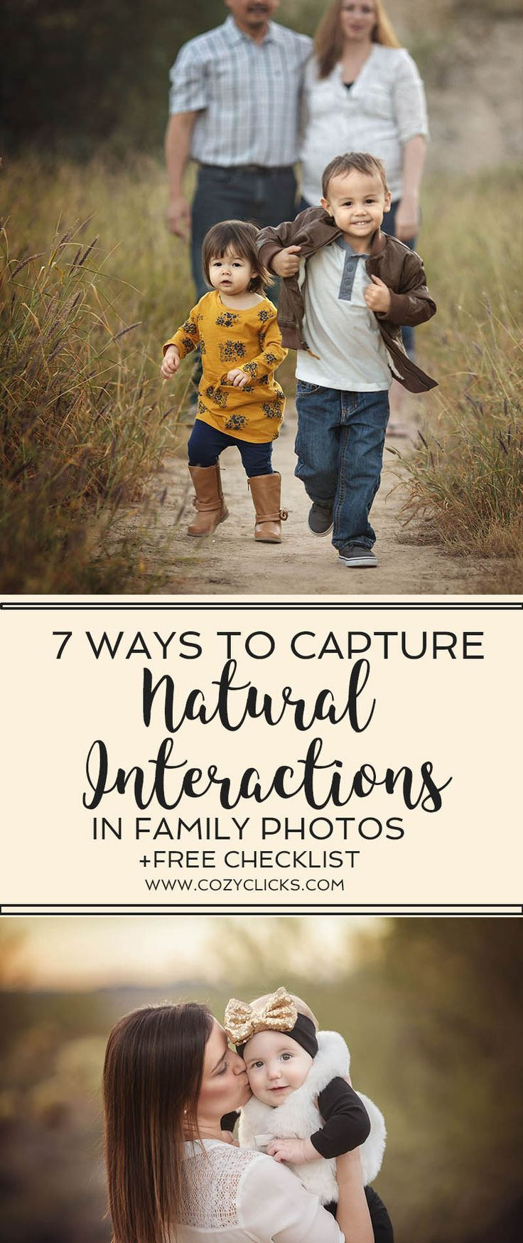 Photography tips on how to pose families using natural interactions. Easy ways for new photographers to capture natural poses in family photography