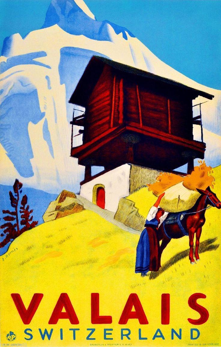 Valais Switzerland Suisse Winter Ski Europe Travel Advertisement Art Poster | eBay